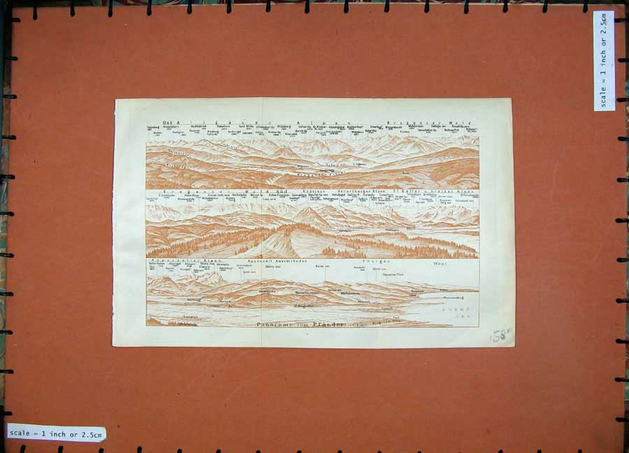 Print 1927 Colour Map Tyrol Dolomites Mountains Bludenz 158Rd189 Old Original