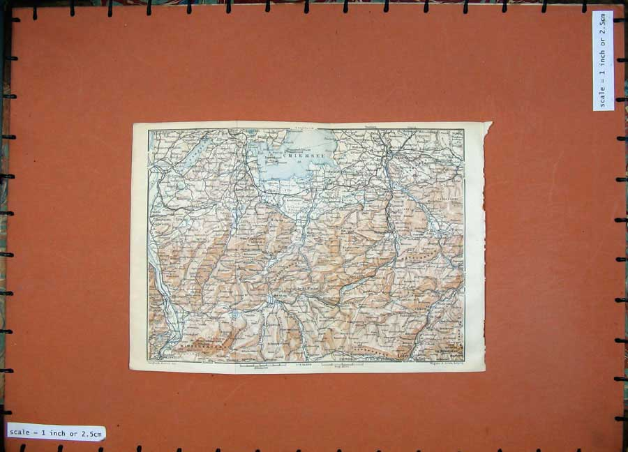 Print 1927 Colour Map Tyrol Dolomites Mountains Chiemsee 159Rd189 Old Original