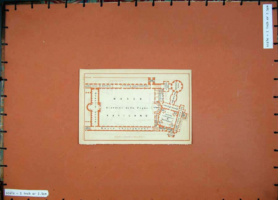 Print 1904 Colour Map Plan Vatican Museo Italy Damaso Europe 103Rd190 Old Original