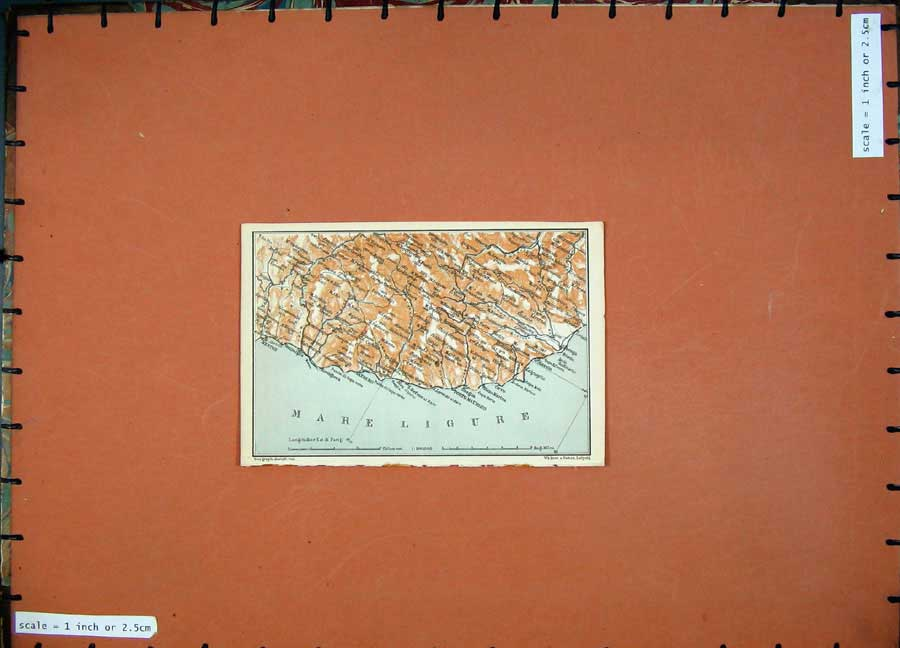Print 1904 Colour Map Mare Ligure Menton Sanremo Italy 114D190 Old Original