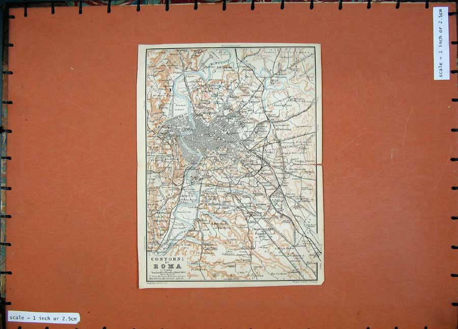Print 1904 Colour Map Street Plan Contorni Roma Italy Europe 129D190 Old Original