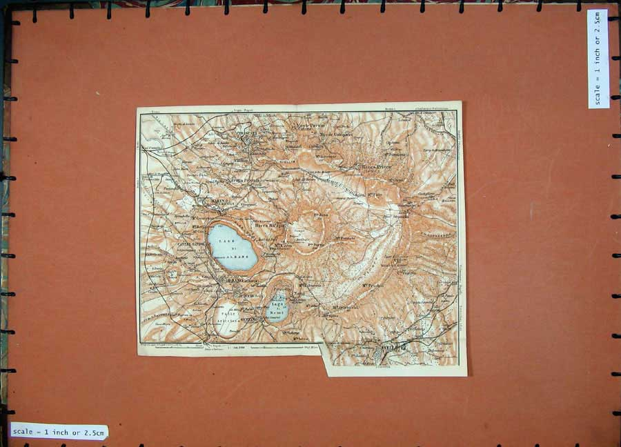 Print 1904 Colour Map Marino Velletri Genzano Italy 130D190 Old Original