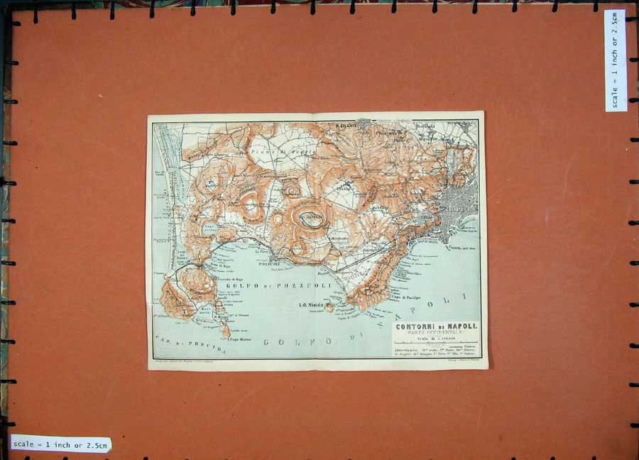 Print 1904 Colour Map Contorni Napoli Italy Pozzuoli Nisida 131D190 Old Original