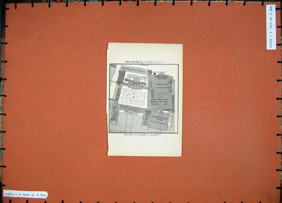 Print 1905 Map London Plan Architectural Court Museum 106D191 Old Original
