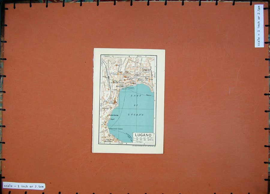 Print 1937 Colour Map Italy Lugano Lake Lorenzo Museo Caccia 103D200 Old Original