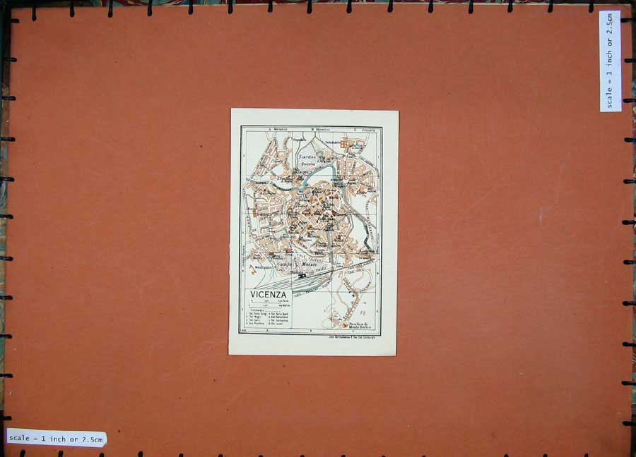 Print 1937 Colour Map Italy Street Plan Vicenza Bacchiglione 109D200 Old Original