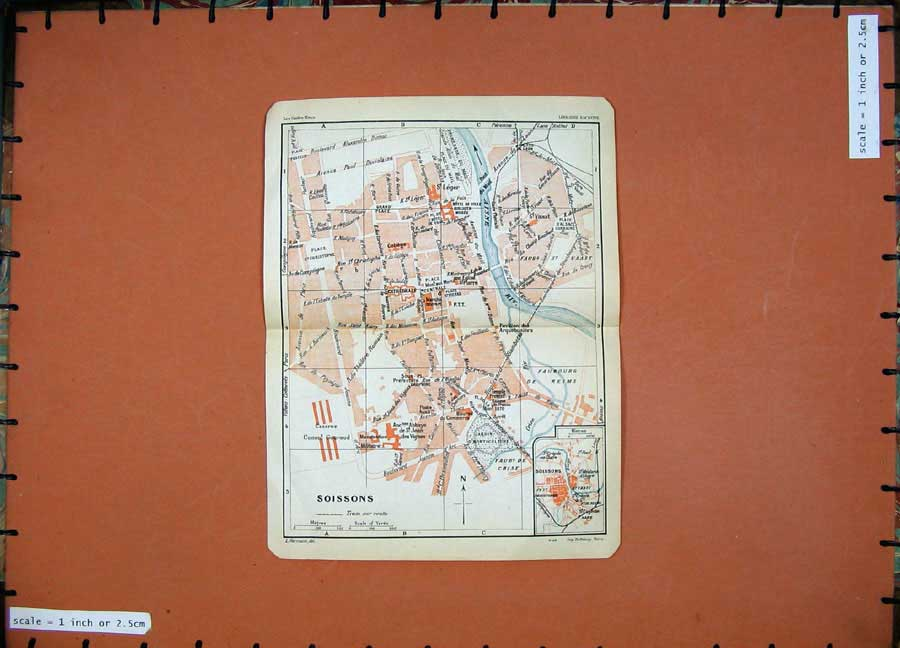 Print 1930 Colour Map France Street Plan Soissons Aisne River 110D201 Old Original