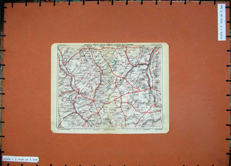 Print 1930 Colour Map France Commercy Mihiel Vigneulles Metz 118D201 Old Original