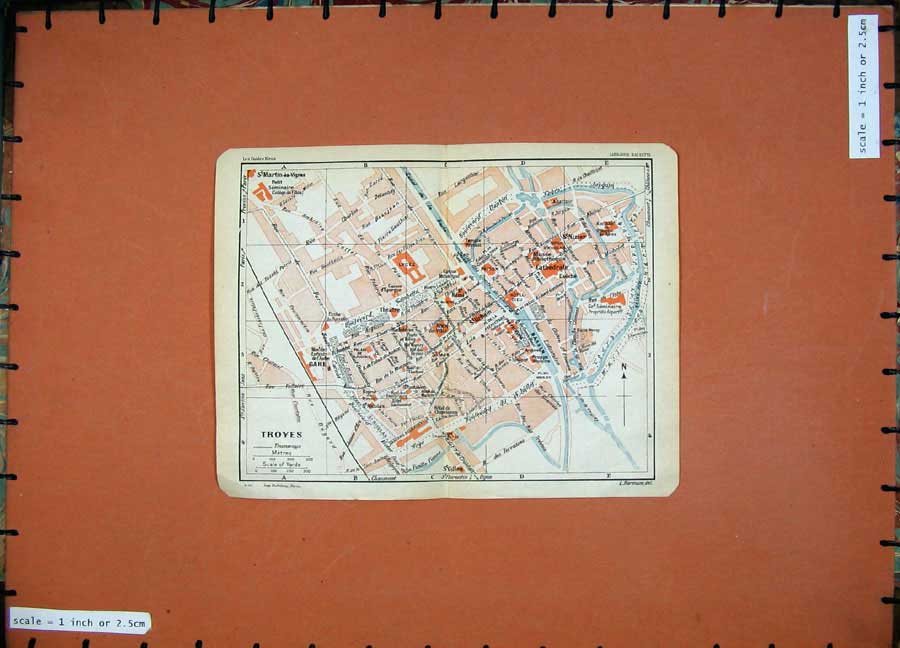 Print 1930 Colour Map France Street Plan Troyes Lycee Bassin 120D201 Old Original