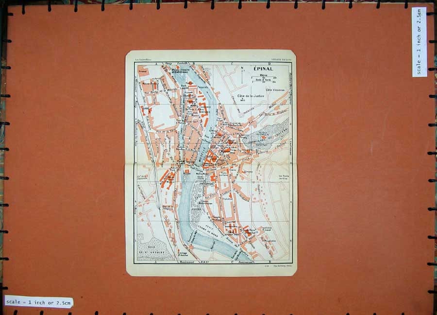 Print 1930 Colour Map France Street Plan Epinal Moselle Champ 122D201 Old Original