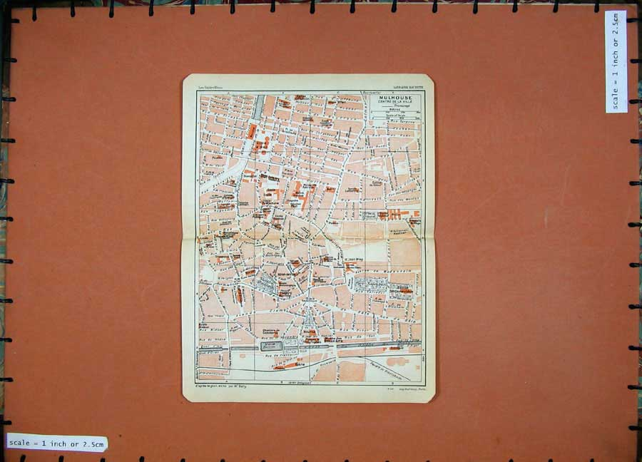 Print 1930 Colour Map France Street Plan Mulhouse Rhone Canal 126D201 Old Original
