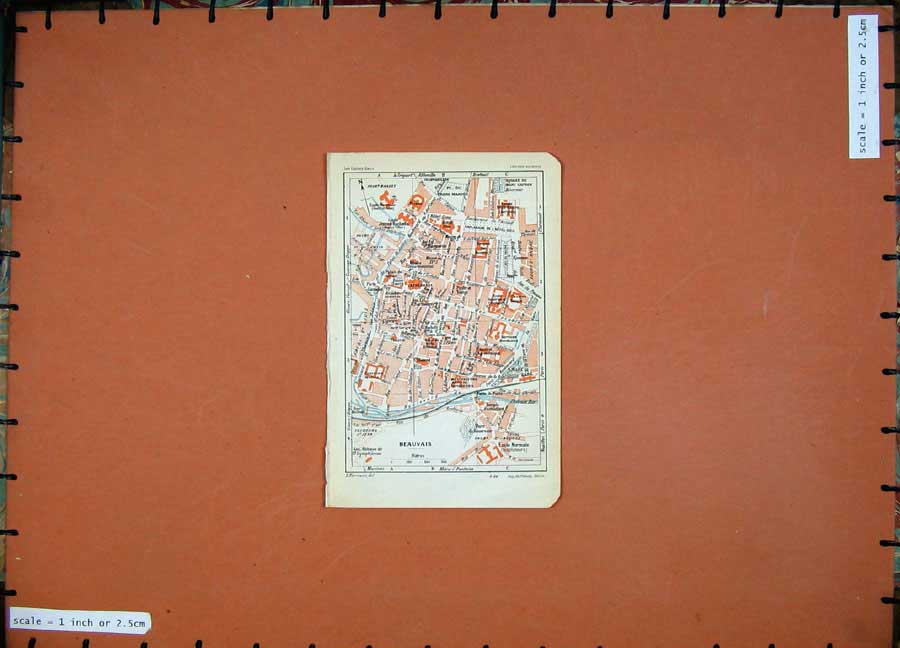 Print 1930 Colour Map France Street Plan Beauvais Jacobins 130D201 Old Original