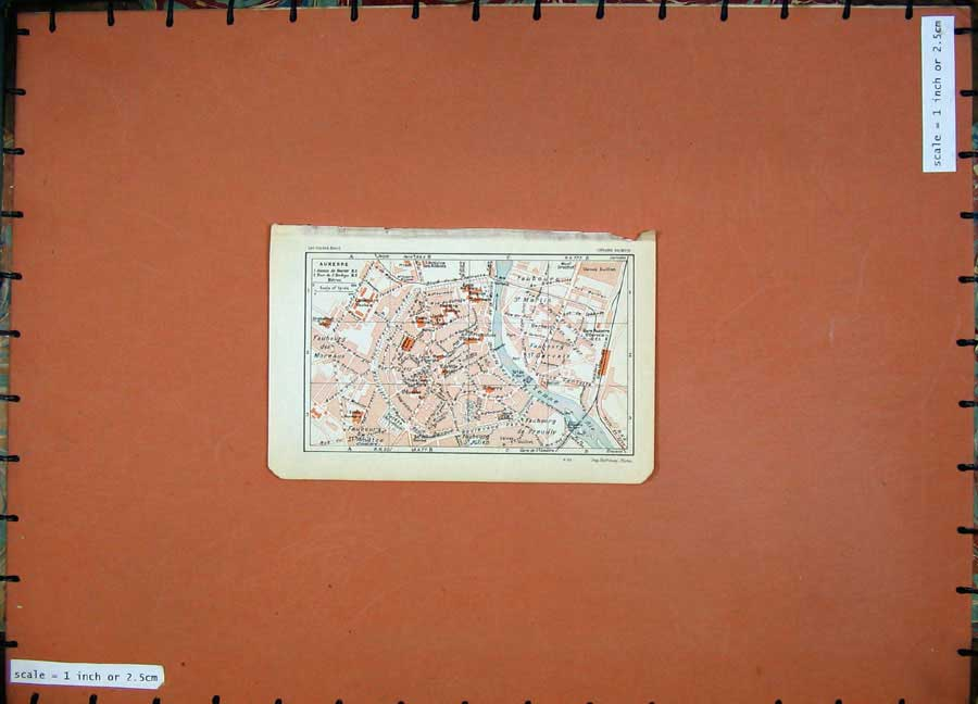 Print 1930 Colour Map France Street Plan Auxerre Yonne River 132D201 Old Original