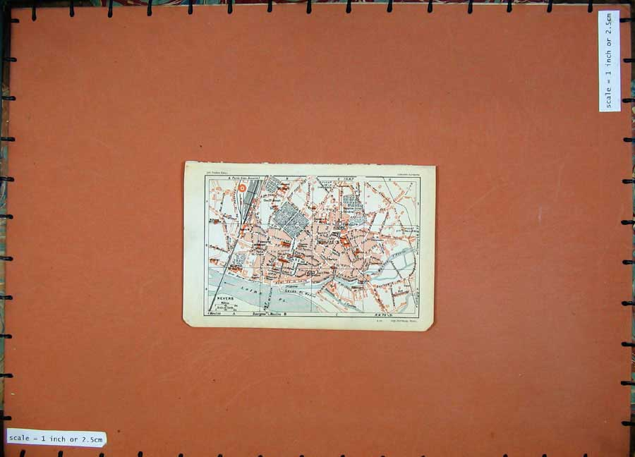 Print 1930 Colour Map France Street Plan Nevers Loire Nievre 133D201 Old Original