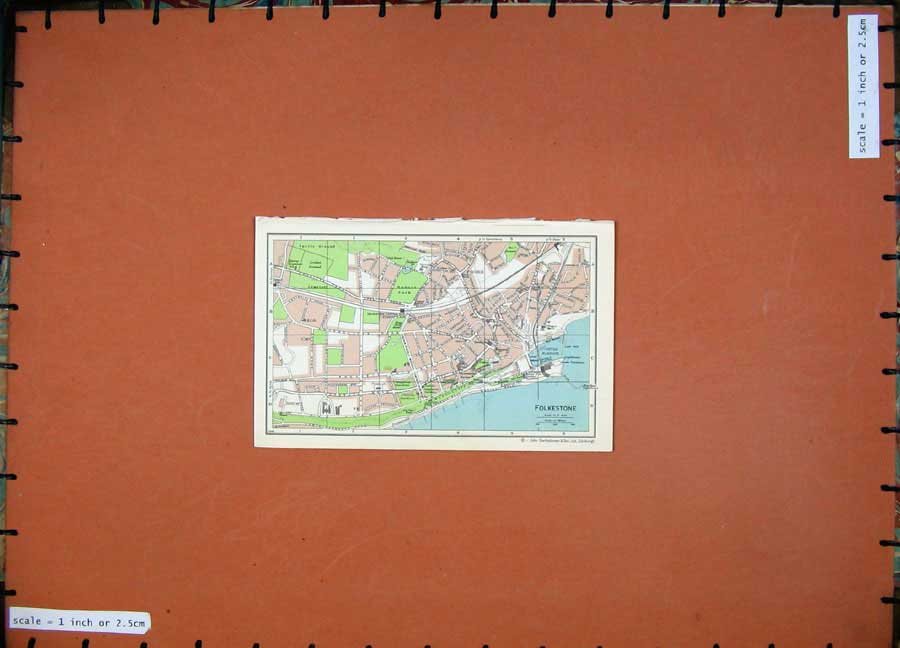 Print 1965 Map England Street Plan Folkestone Dover Harbour 102Rd205 Old Original