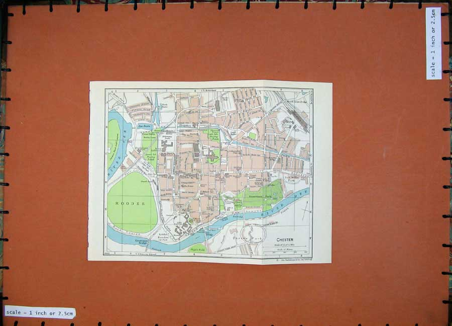 Print 1965 Map England Street Plan Chester Cathedral Roodee 116Rd205 Old Original