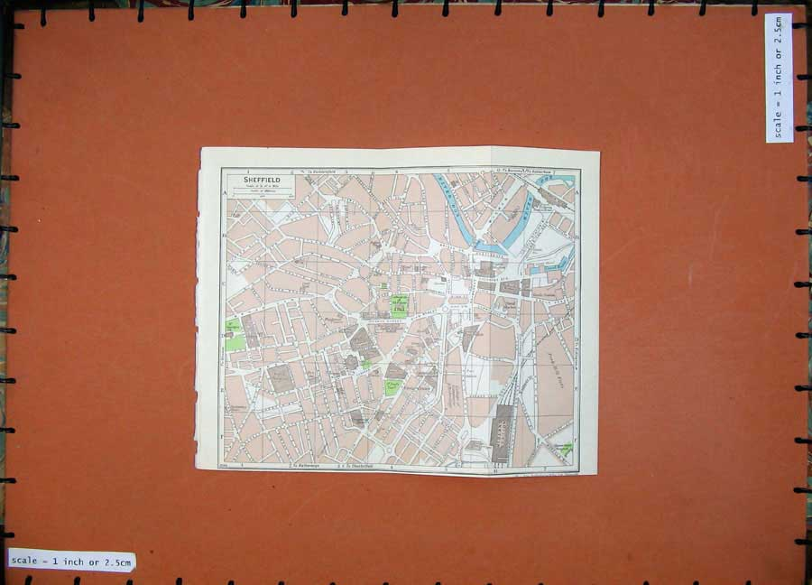 Print 1965 Colour Map England Street Plan Sheffield Leeds 118Rd205 Old Original