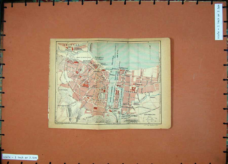 Print 1925 Colour Map Normandy France Street Plan Arsenal 110D206 Old Original