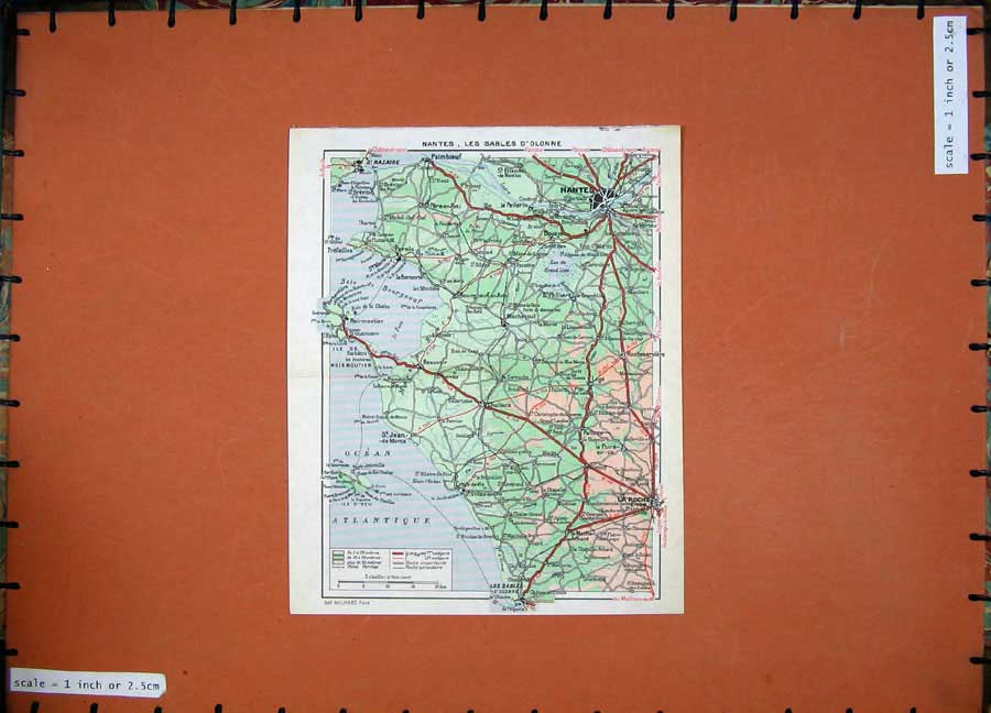 Print Colour Map France Nantes Les Sables D'Olonne C1950 101D217 Old Original