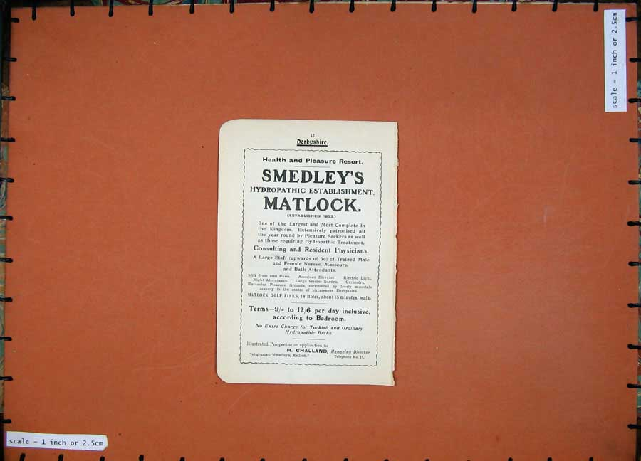 Print 1913 Hotel London British Road Books Smedley'S Matlock 107Rd218 Old Original