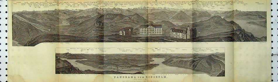 Print 1928 Panoramic View Mountains Italian Lakes Rigikulm 101D219 Old Original