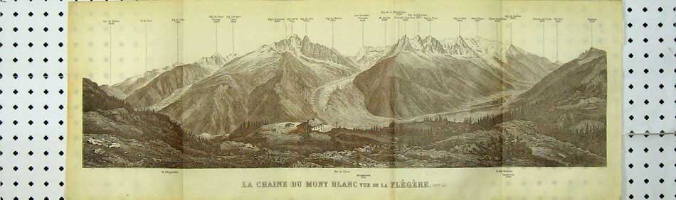 Print Mountains View La Chaine Du Mont Blanc Flegere Mallet 102D219 Old Original