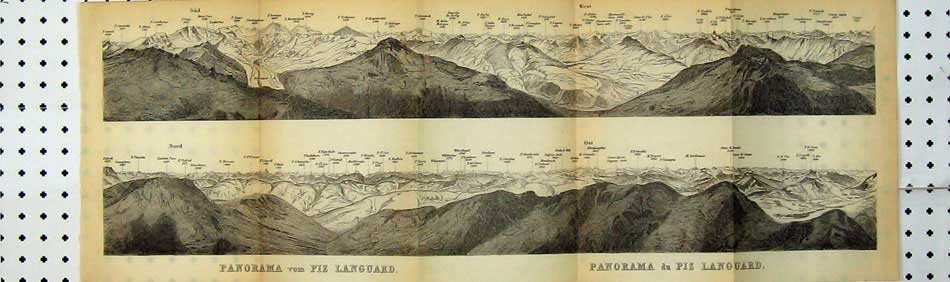 Print 1899 Panorama Mountains Piz Languard Switzerland Map 103D219 Old Original