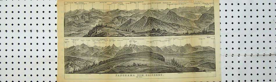 Print 1891 Panorama Mountains Eastern Alps Vom Caisberg 108D219 Old Original