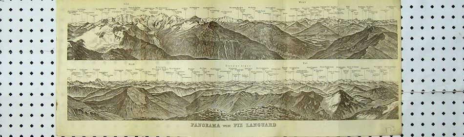 Print 1928 Switzerland Panorama Mountains Piz Languard Joch 109D219 Old Original
