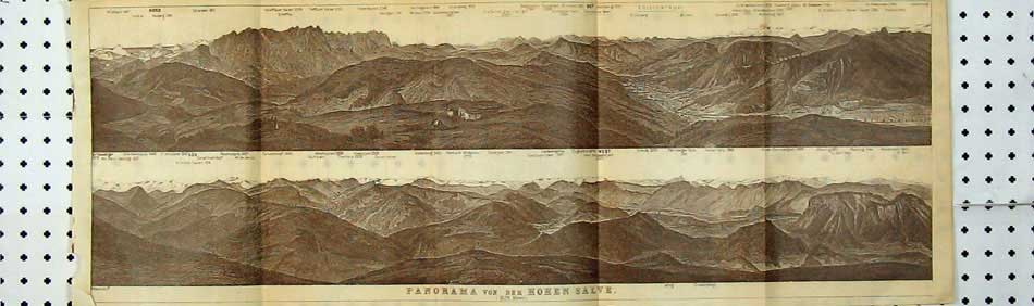 Print 1927 Panorama Mountains Tyrol Dolomites Hohen Salve 116D219 Old Original