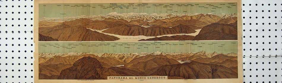 Print 1905 Switzerland Panorama Mountains Monte Generoso 124D219 Old Original