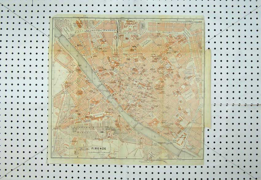 Print 1909 Colour Map Italy Street Plan Firenze Arno River 106D220 Old Original