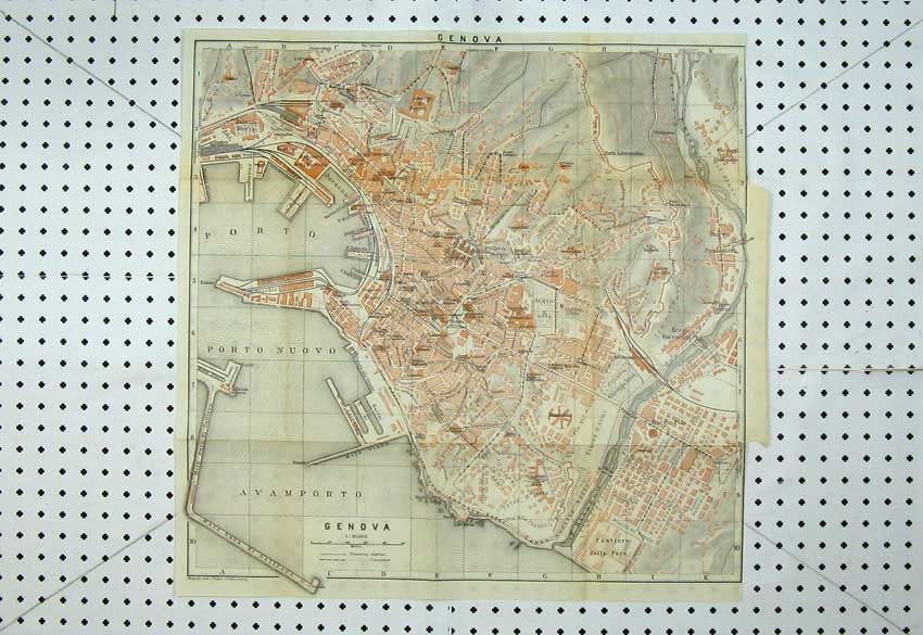 Print 1909 Colour Map Italy Street Plan Genova Porto Nuovo 107D220 Old Original