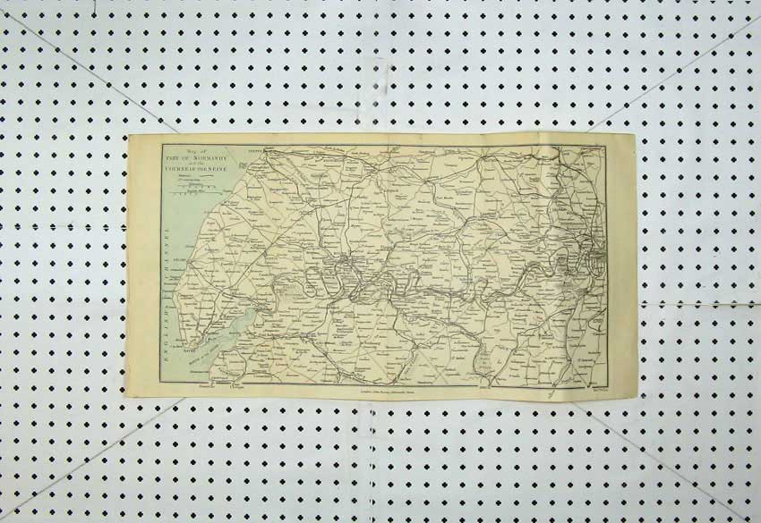Print Colour Map France Normandy Seine Havre Paris Gaillon 127D220 Old Original
