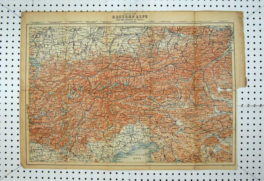 Print Colour Map Eastern Alps Triest Munchen Linz Steyer Graz 134D220 Old Original