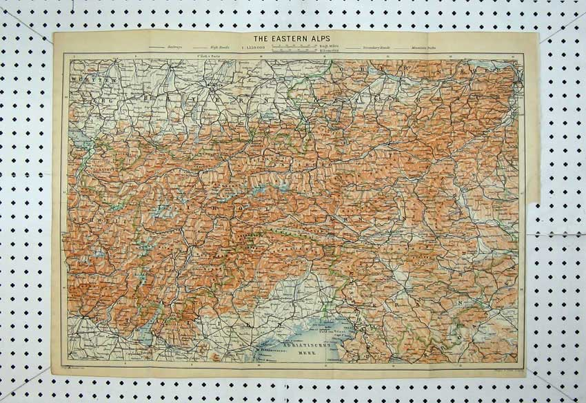 Print Colour Map Eastern Alps Mountains Triest Munchen Linz 136D220 Old Original