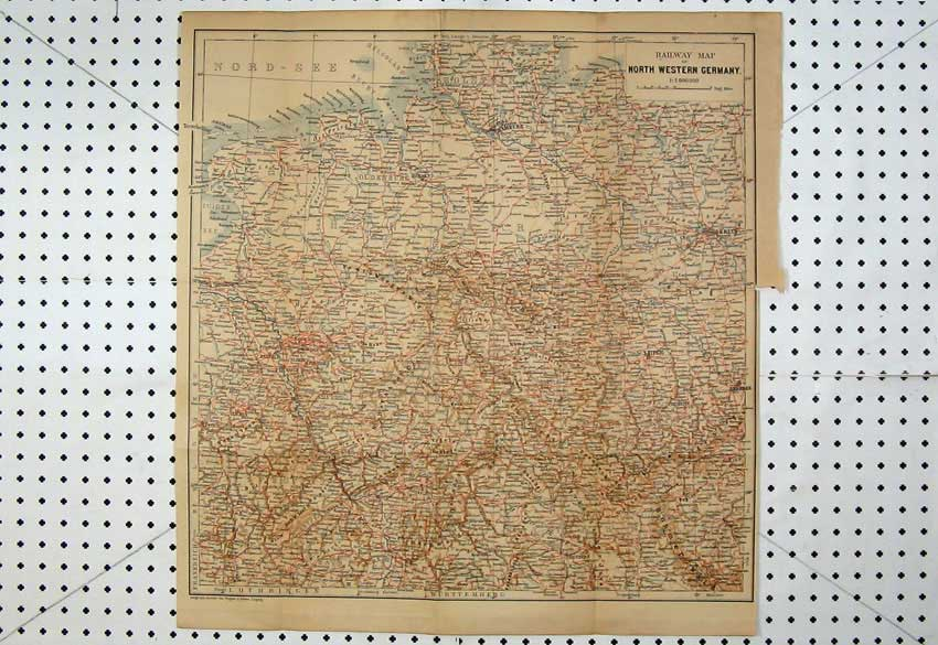 Print Colour Map Railway North Western Germany Leipzig Berlin 138D220 Old Original