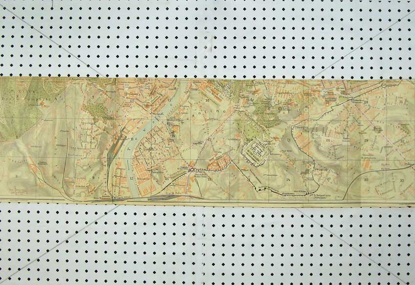 Print Southern Italy 1925 Bleus Map Street Plan Aventino 115D221 Old Original