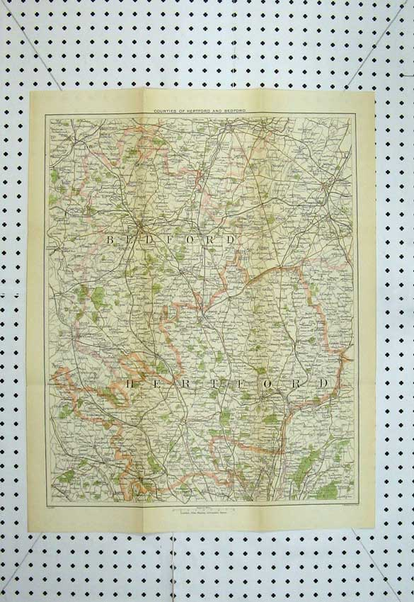 Print 1895 Murrays Maps Bedford Hereford England Luton Bushey 122D221 Old Original