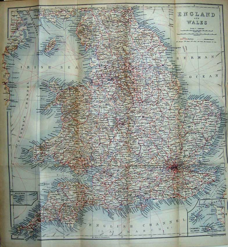 Print 1905 Colour Map London England Channel Islands Scilly 113D222 Old Original