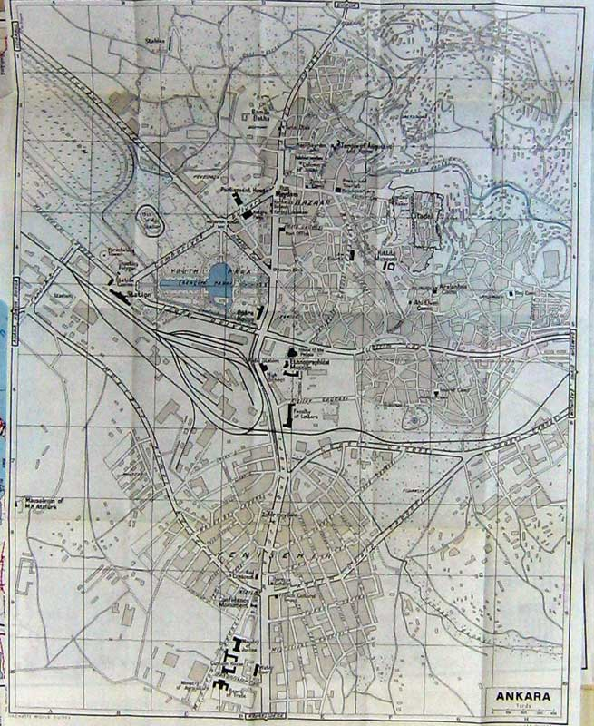 Print 1960 Colour Map Street Plan Ankara Yenisehir Museum 126D222 Old Original