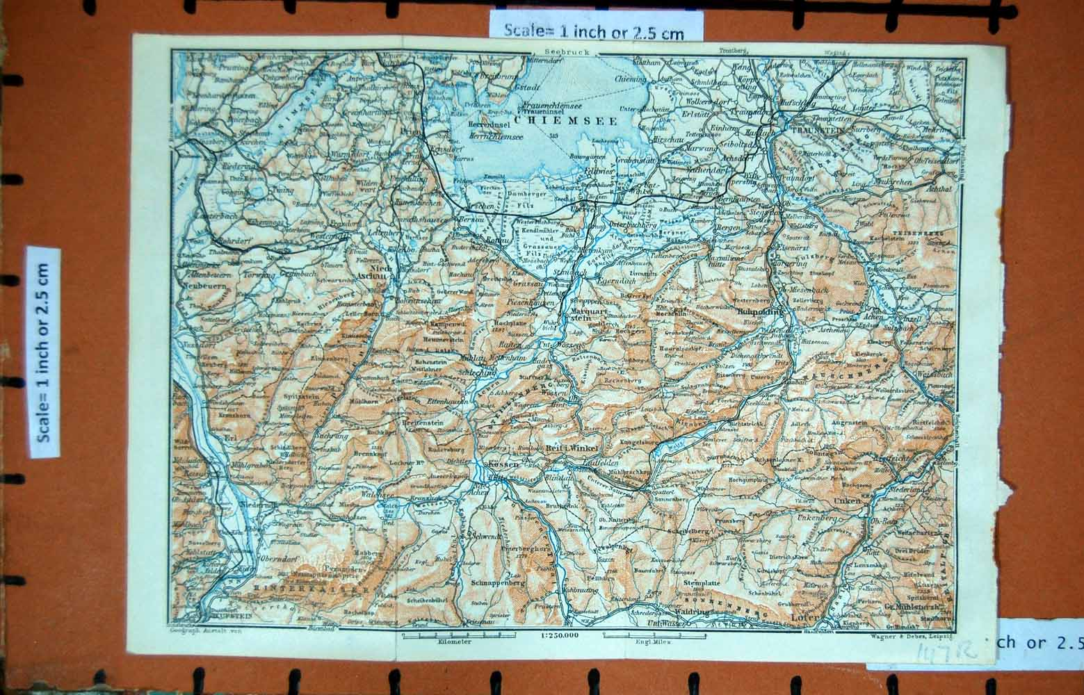 Print Map 1927 Tyrol Chiemsee Kufstein Panorama Mountains 147Rd331 Old Original
