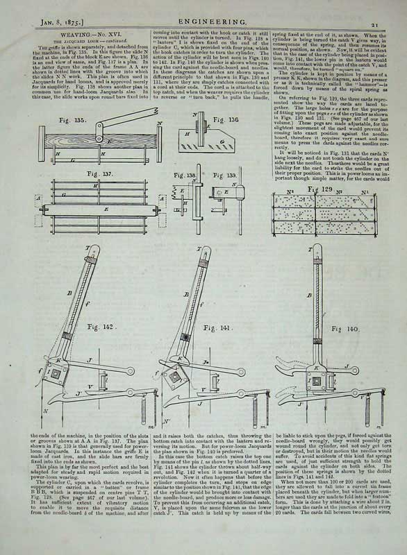 Print 1875 Engineering Jacquard Loom Weaving Machinery 021D401 Old Original