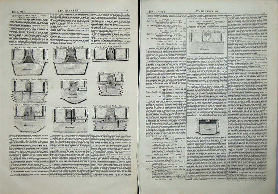 Print 1875 Engineering Street Tramways Cars Diagrams Leeds 039Ad401 Old Original