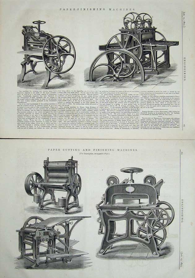 Print 1875 Engineering Paper Cutting Finishing Machinery 044Ad401 Old Original