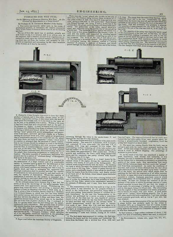 Print 1875 Engineering Furnaces Wet Fuel Machinery Diagrams 049D401 Old Original