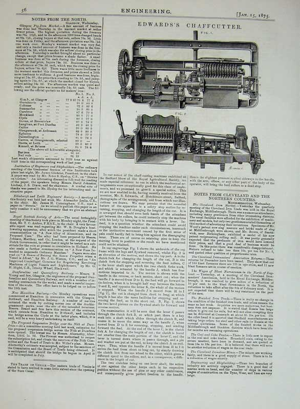 Print 1875 Engineering Edward'S Chaffcutter Machinery 056D401 Old Original