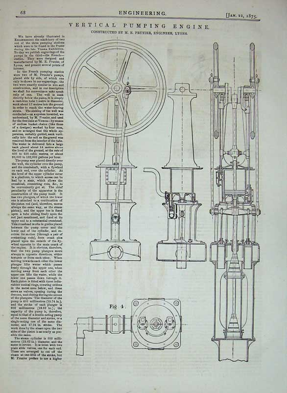 Print 1875 Vertical Pumping Engine Prunier Engineer Lyons 068D401 Old Original