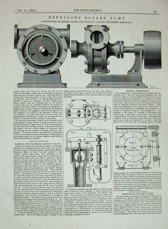 Print 1875 Bennison Rotary Pump Machine Lassoe Safety Valave 069D401 Old Original