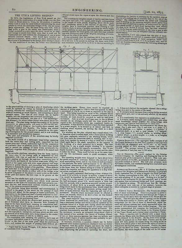 Print 1875 Engineering Utica Lifting Bridge Diagram Drawings 080D401 Old Original